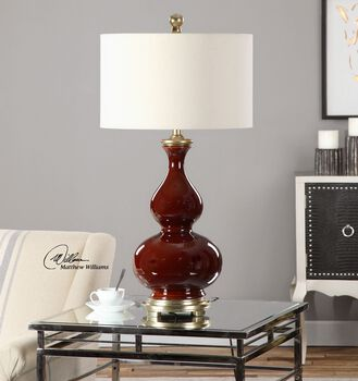 Uttermost Sorrell Burgundy Table Lamp