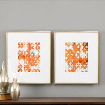 Uttermost Overlapping Teal And Orange Modern Art, S/2