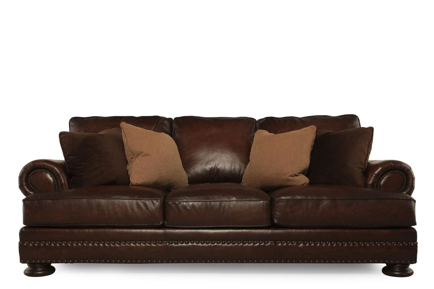 Bernhardt foster leather sofa mathis brothers furniture for Furniture leather sofa