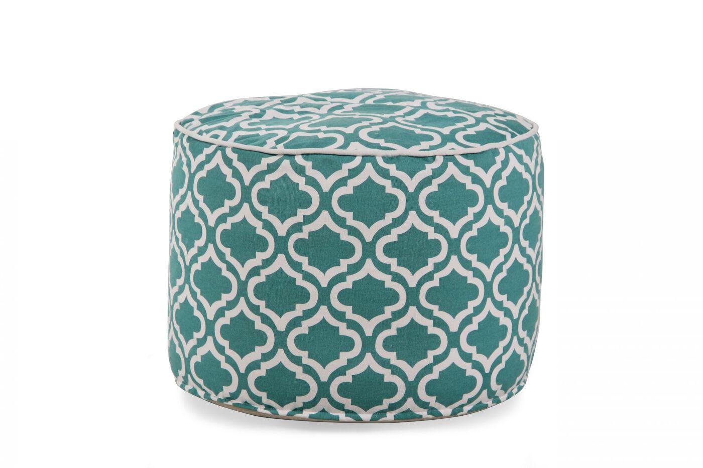 Ashley Geometric Turquoise Pouf | Mathis Brothers Furniture
