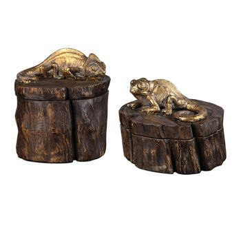 Uttermost Chameleon Gold & Wood Tone Boxes S/2