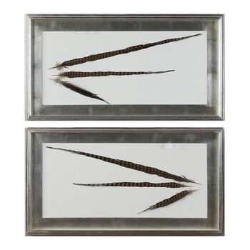 Uttermost Pheasant Feathers Wall Art S/2