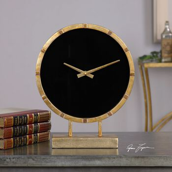 Uttermost Aldo Gold Table Clock