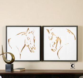 Uttermost Golden Horses Framed Art, S/2