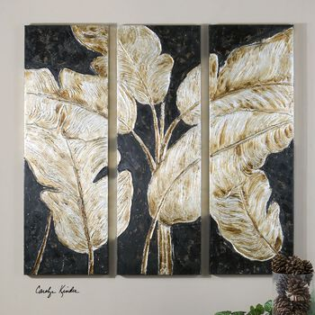 Uttermost Golden Palms Floral Art, S/3