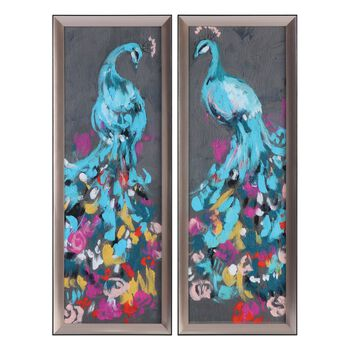 Uttermost Flower Feathers Peacock Prints S/2
