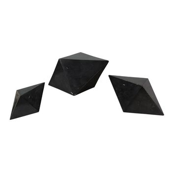 Uttermost Rhombus Black Marble Sculpture S/3