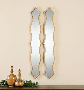 Uttermost Morvana Curved Metal Mirrors, S/2