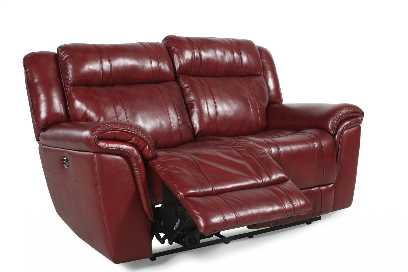 Boulevard chili pepper burgundy reclining loveseat mathis brothers furniture Burgundy leather loveseat