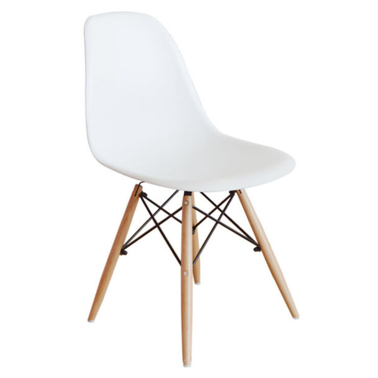 White Eiffel Chair With Wood Legs At Home