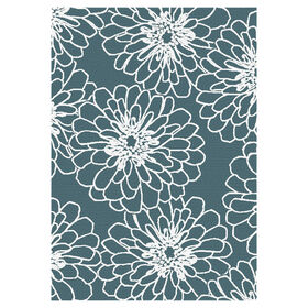 Teal and White Marigold Rug 5 X 7 ft