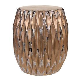Metallic Gold Brown Ceramic Garden Stool- 17-in