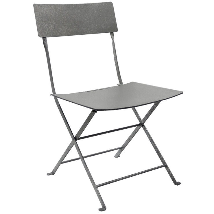 silver steel folding slat chair at home