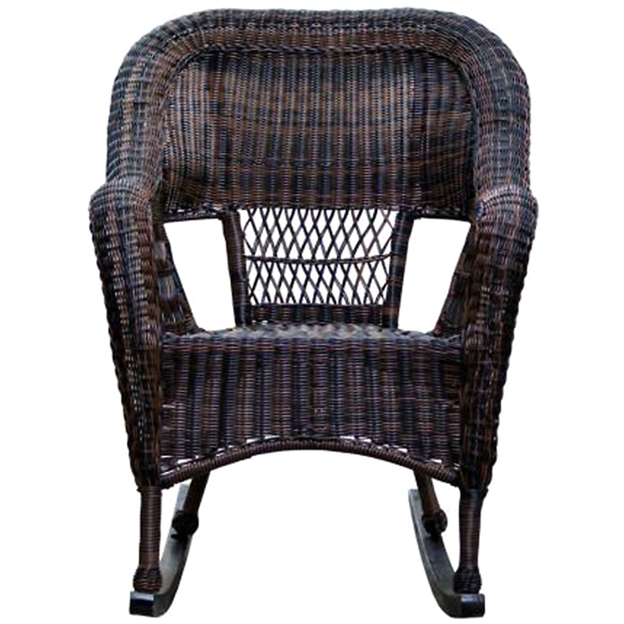Dark Brown Wicker Outdoor Patio Rocking Chair - At Home