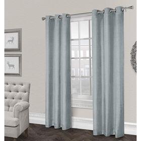 Rita Textured Grommet Curtain Panel- Ice Blue 84-in
