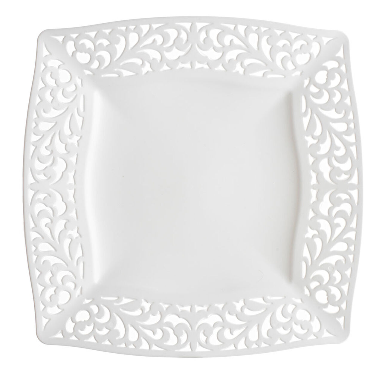 White Pierced Square Dinner Plates Set Of 10 At Home
