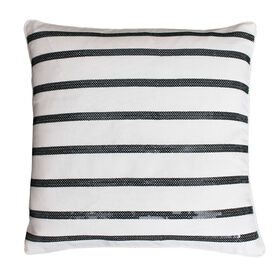 Picture of Aileen Black and White Striped Pillow - 18 in.