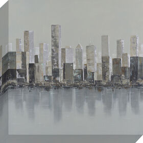 Picture of Gray Skyline Canvas Art, 20x20-in.
