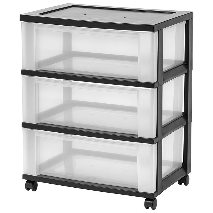 3 drawer storage cart with wheels black at home