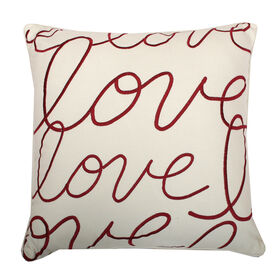 Love Script Pillow- Red 18-in