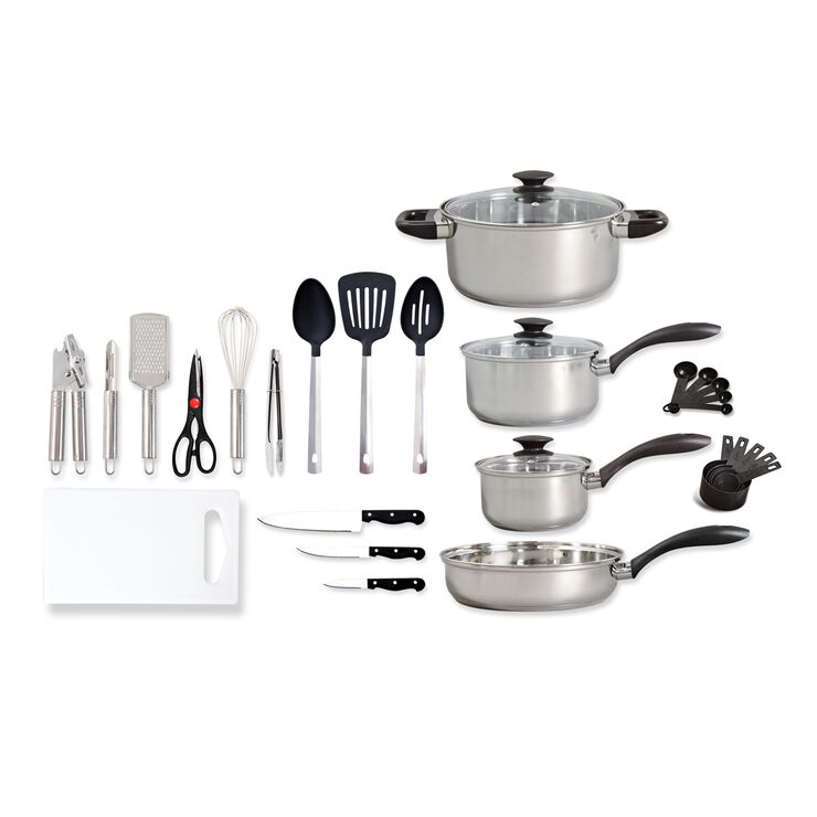 30 piece stainless steel cookware and kitchen tool combo for Kitchen combo set 50 pcs