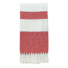 White and Coral Native Stripe Throw 50 X 60-in