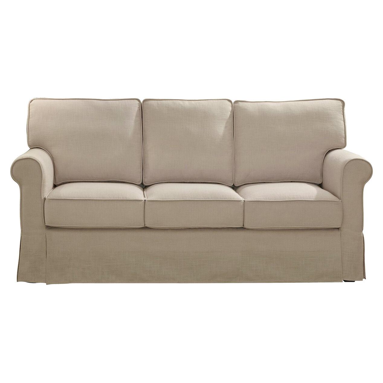 savannah natural linen sofa with faux slip cover at home