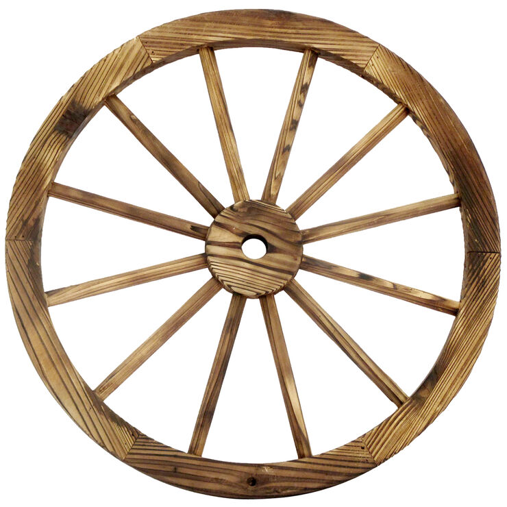 24 in Wood Wagon Wheel Patio Dcor At Home