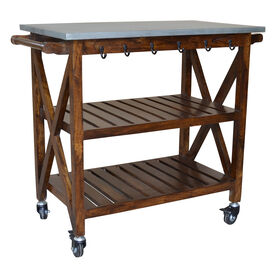Antwerp Wooden Bar Cart with Ganvanized Metal Top & Towel Hooks