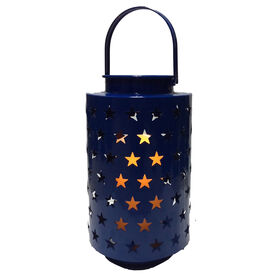 10-in. Blue Star Metal Lantern