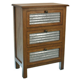 Picture of Galvanized 3-Drawer Wooden Cabinet