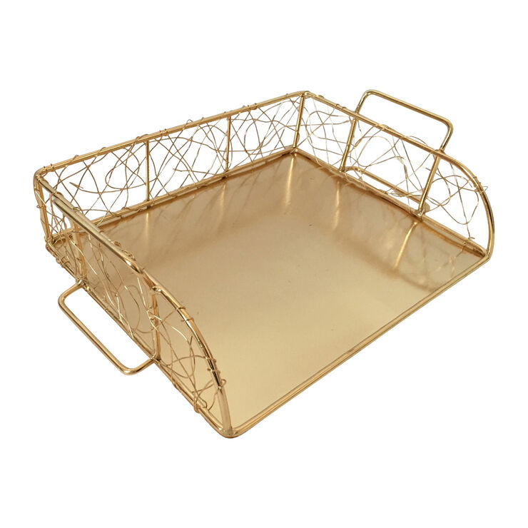 Wire Paper Tray - Gold
