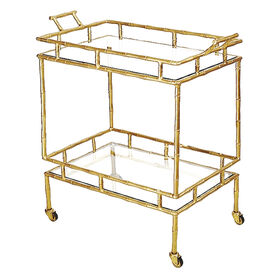 Brass Bamboo 2-Tier Bar Cart
