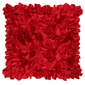 Adelle Flower Pillow - Red, 18-in.