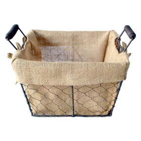 Picture of French Wire Basket with Burlap Liner