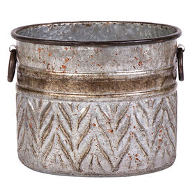 Metal Oval Galvanized Planter- 10-in