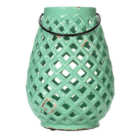 Ceramic Lattice Teal Lantern - 9 in.