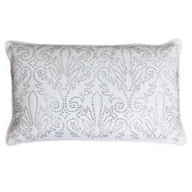 Picture of White & Silver Juliana Decorative Pillow with Studs- 12 x 20-in
