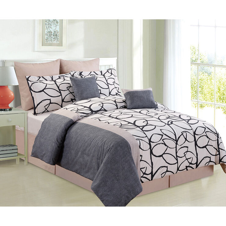 Black taupe and white feuille comforter set queen 8 piece for Black white taupe bedroom