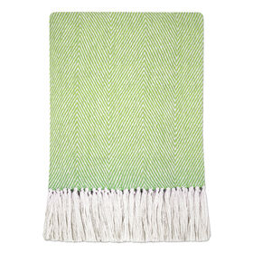 Cotton Green Herringbone Throw