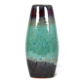 Picture of Brown & Teal Drip Glazed Vase- 13-in