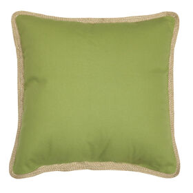 Picture of Belmar Green Pillow with Jute Trim- 18-in