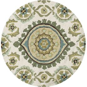 Layla Ivory & Aqua Ornament Accent Rug 3 X 3 ft