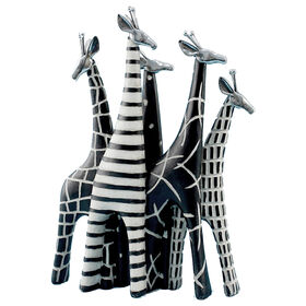 Picture of Black & White Giraffe Heard Figurine 10.5 x 15