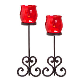 Picture of Red Crackle Glass Pillar Candle Holder - Set of 2
