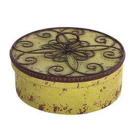 Yellow Round Decorative Box with Scroll Lid- 12-in
