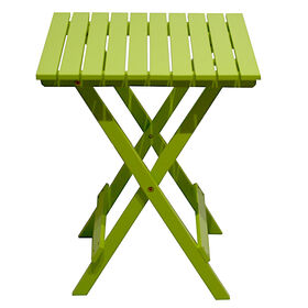 18 x 22 Square Wood Slat End Table, Lime Green