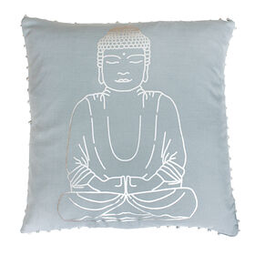 Sitting Buddha Gray Pillow with Bells - 20-in