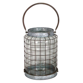 Galvanized Metal Wire Lantern Candle Holder- 9-in