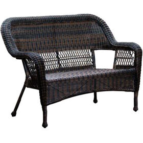 Dark Brown Wicker Outdoor Patio Bench Settee